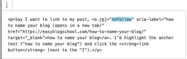 how to make a nofollow link in gutenberg
