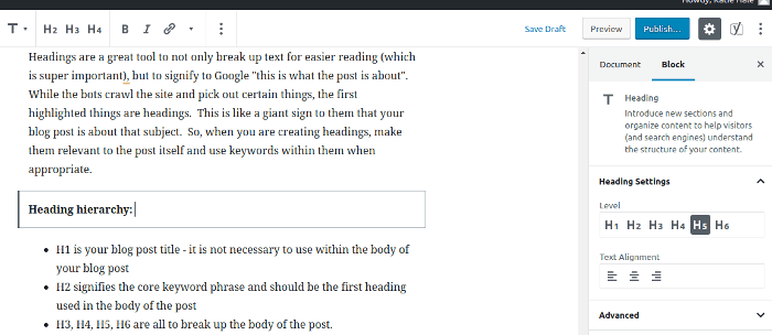 Screenshot showing text being edited for heading size to help improve seo on a blog post