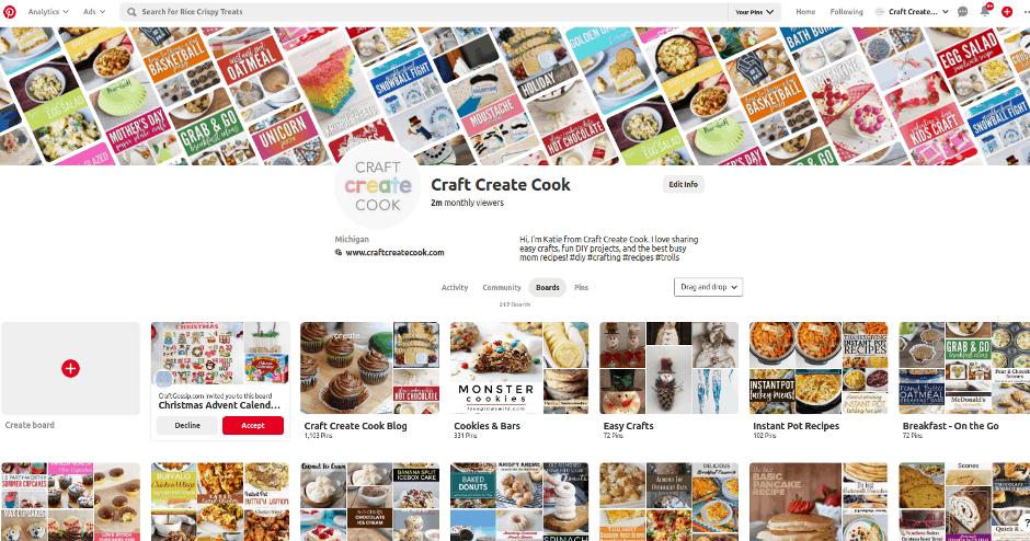 Screenshot of Pinterest profile