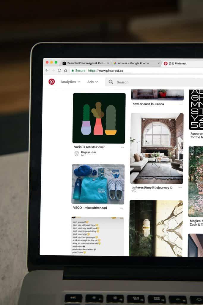 Laptop open to Pinterest canada