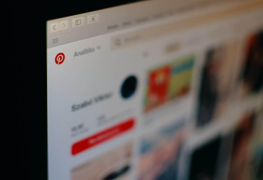 Up close Pinterest icon on laptop